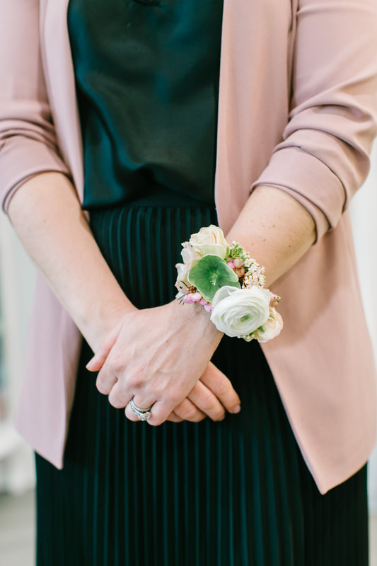 Flower wristlet corsage by Busy Bees Floral Design